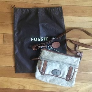 Tan & Cream Fossil Crossbody